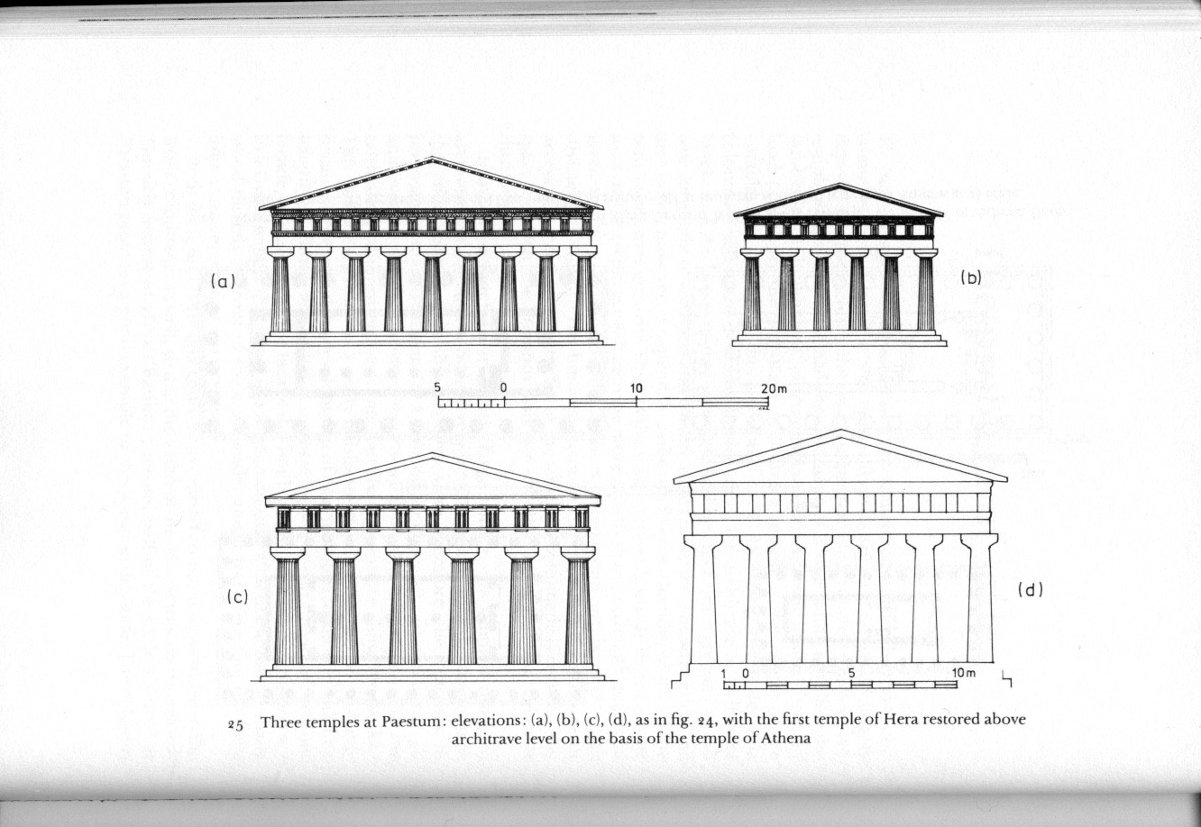 Elevations Of Temples At Paestum